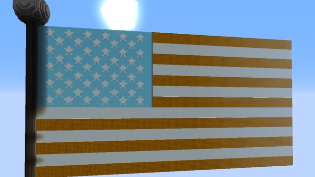 My Latest Minecraft Project: Elemental American Flag
